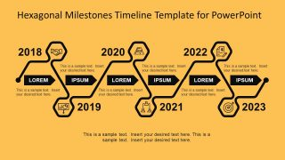 Hexagonal Milestones Timeline Template for PowerPoint