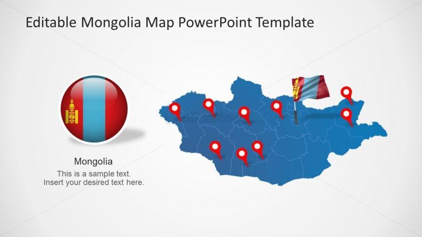 Mongolia Map and Flag Icon