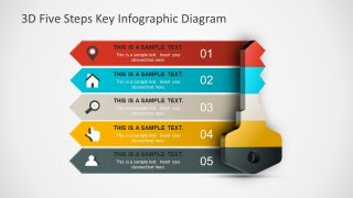 3D Five Steps Key Infographic Diagram