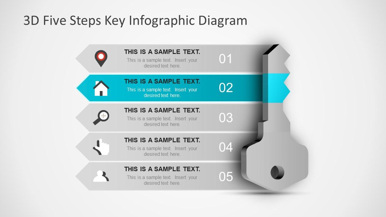 3D Five Steps Key Infographic Diagram - SlideModel