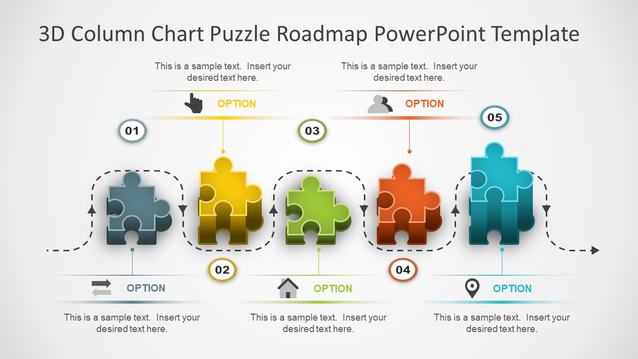 Exceptional 3D Puzzle Blocks PowerPoint Shapes