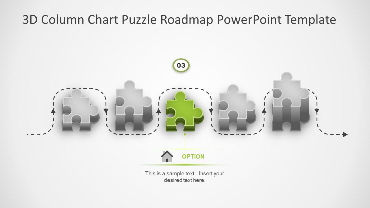 3D Puzzle Roadmap Column Chart