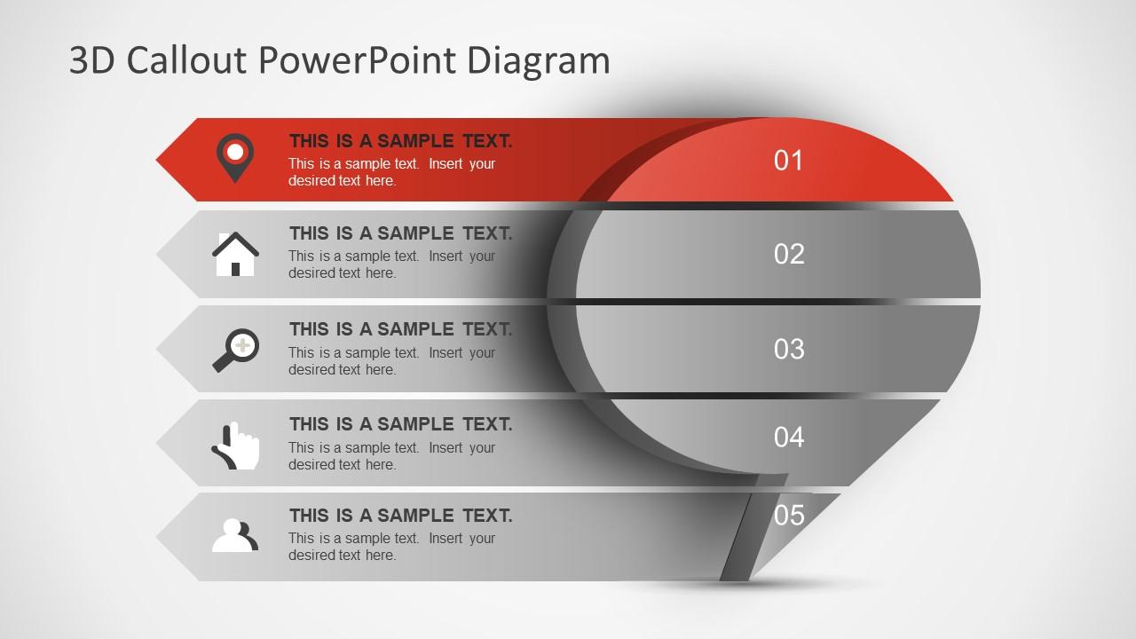 Five Step 3D Diagram Slide
