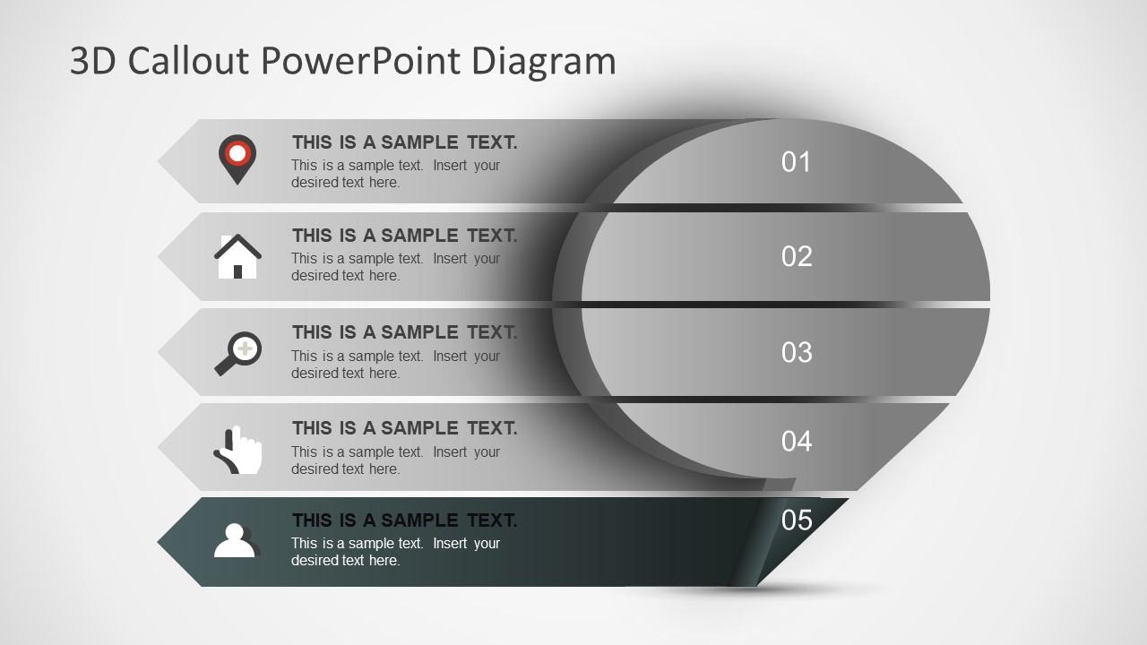 3d callout powerpoint diagram slidemodel