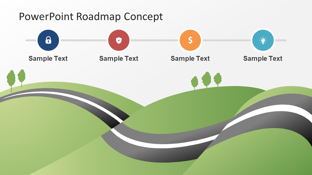 roadmap concept map powerpoint theme