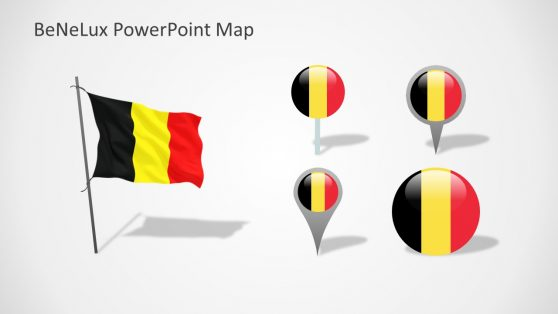Belgium Flag Design with Location Markers