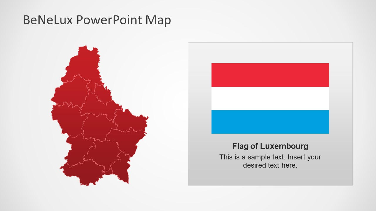 Red Map of Luxembourg PowerPoint Shapes