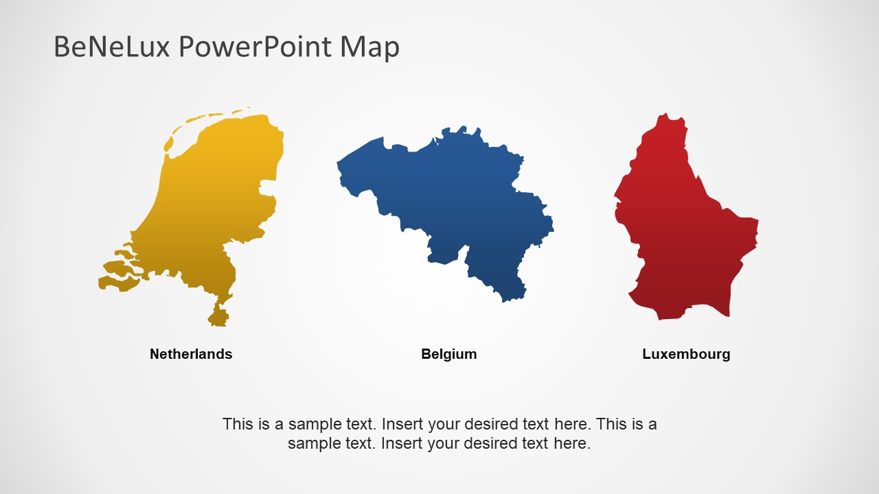 Map for Countries of Benelux in PowerPoint