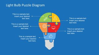 5 Segments Light Bulb Puzzle Diagram for PowerPoint