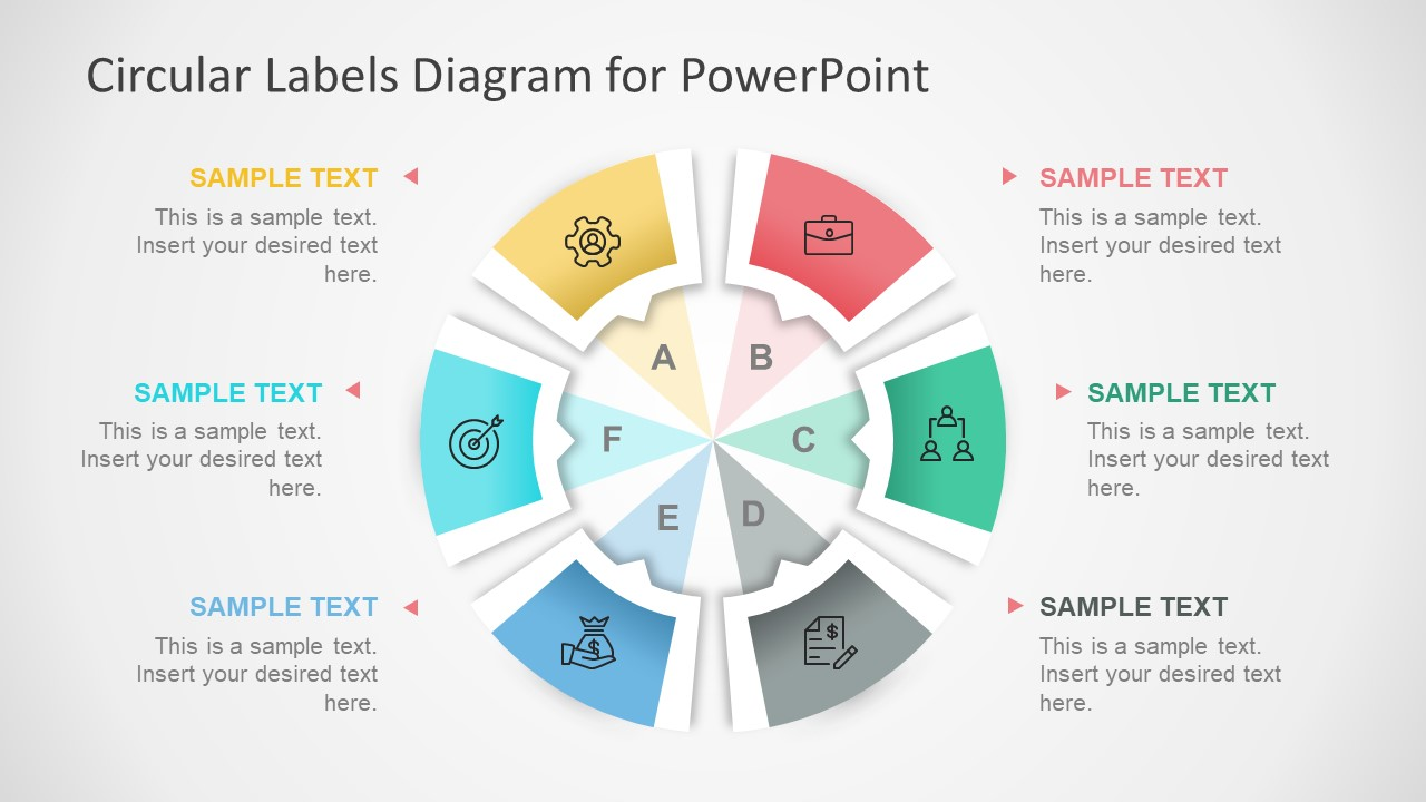 Circular Labels Six Steps Powerpoint Diagram