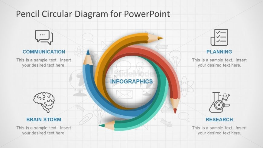 Infographic PowerPoint of Color Pencils Diagram