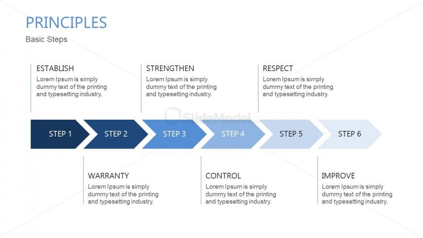 6 Chevron Steps Horizontal Diagram