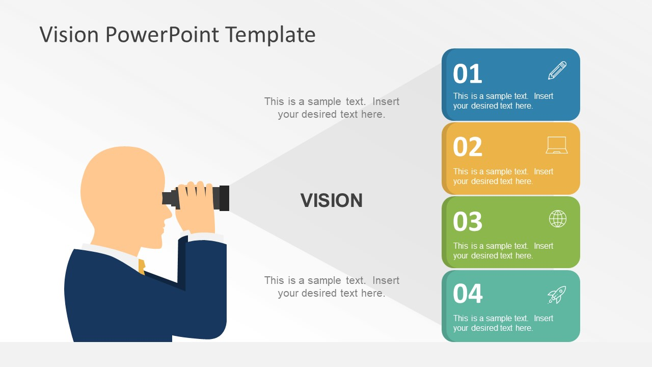 Flat vision statement powerpoint graphics slidemodel for How to create power point template