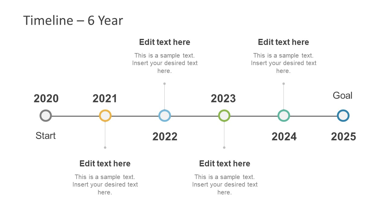 Simple Timeline Slide for Six Year Planning
