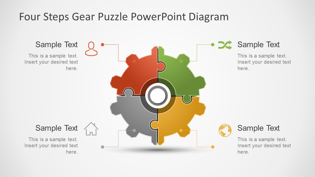 Gear Wheel Four Step Business Diagram