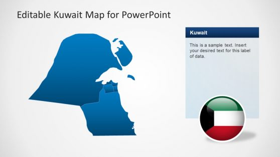 Blue Demographic Map of Kuwait PPT