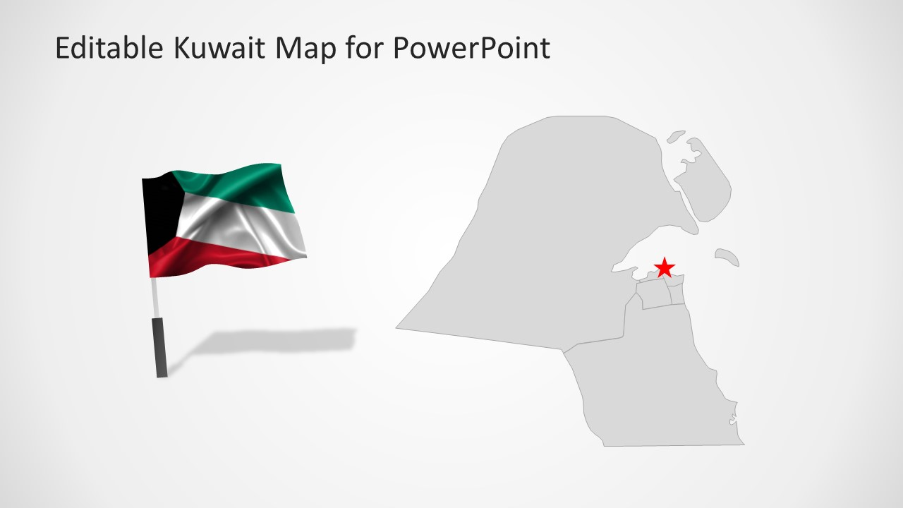 Editable kuwait powerpoint map template slidemodel powerpoint map with flag for middle east country toneelgroepblik Images