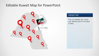 Pin Pointer Gray Map Slide of Kuwait Country