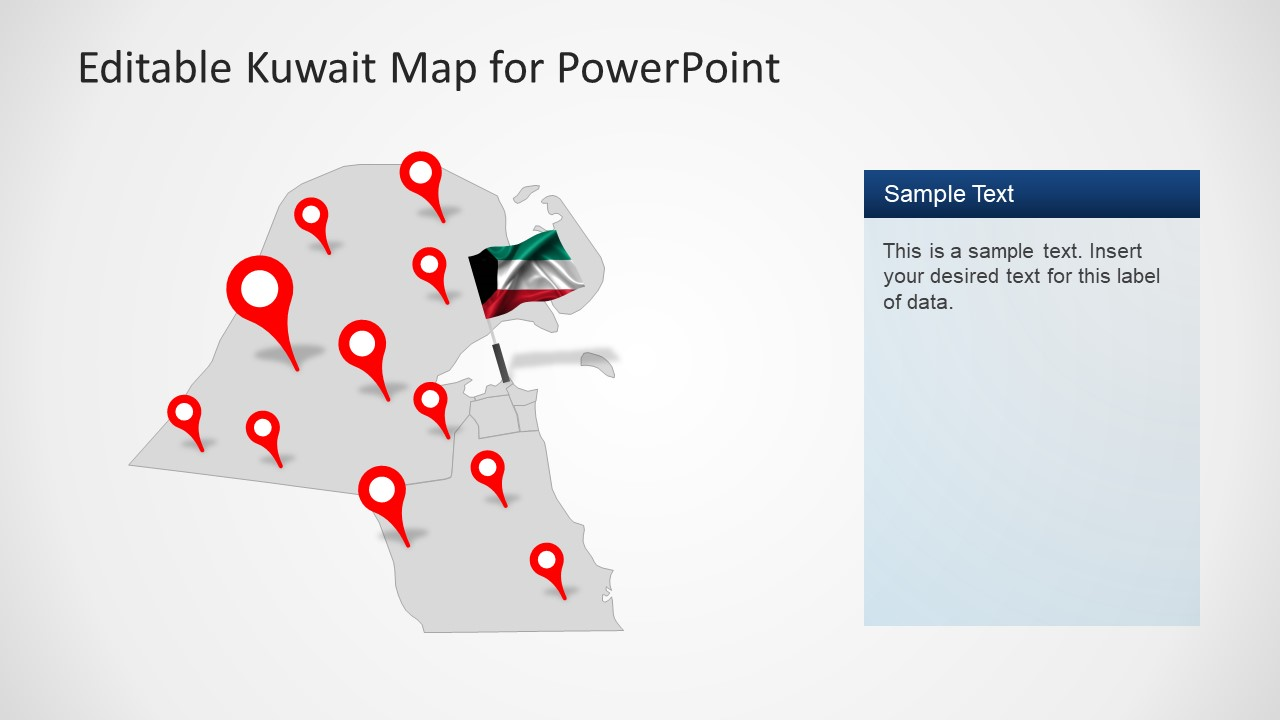Editable kuwait powerpoint map template slidemodel pin pointer gray map slide of kuwait country toneelgroepblik Image collections