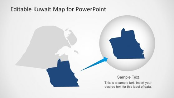 Gray and Blue Editable Map of Kuwait