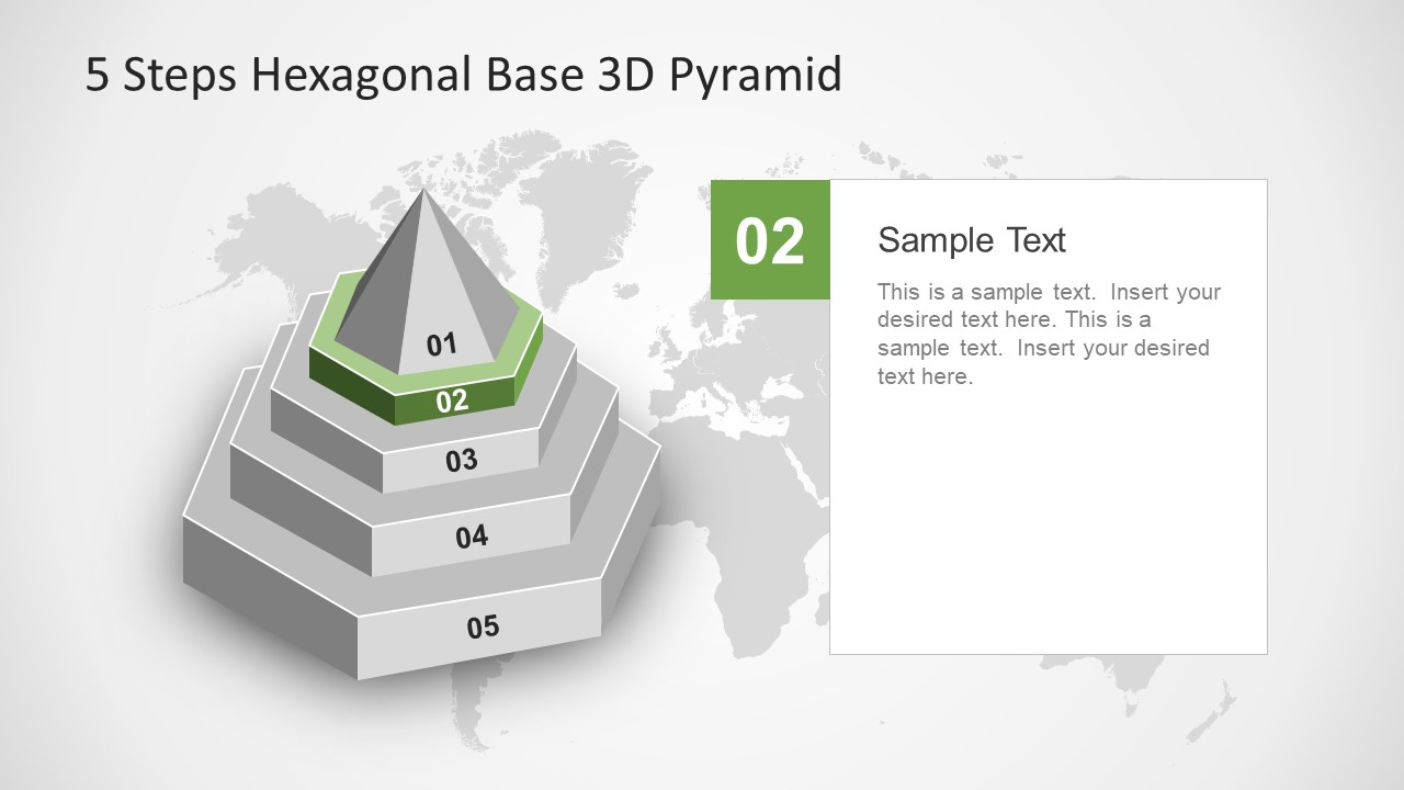 5 steps hexagonal base 3d pyramid slidemodel