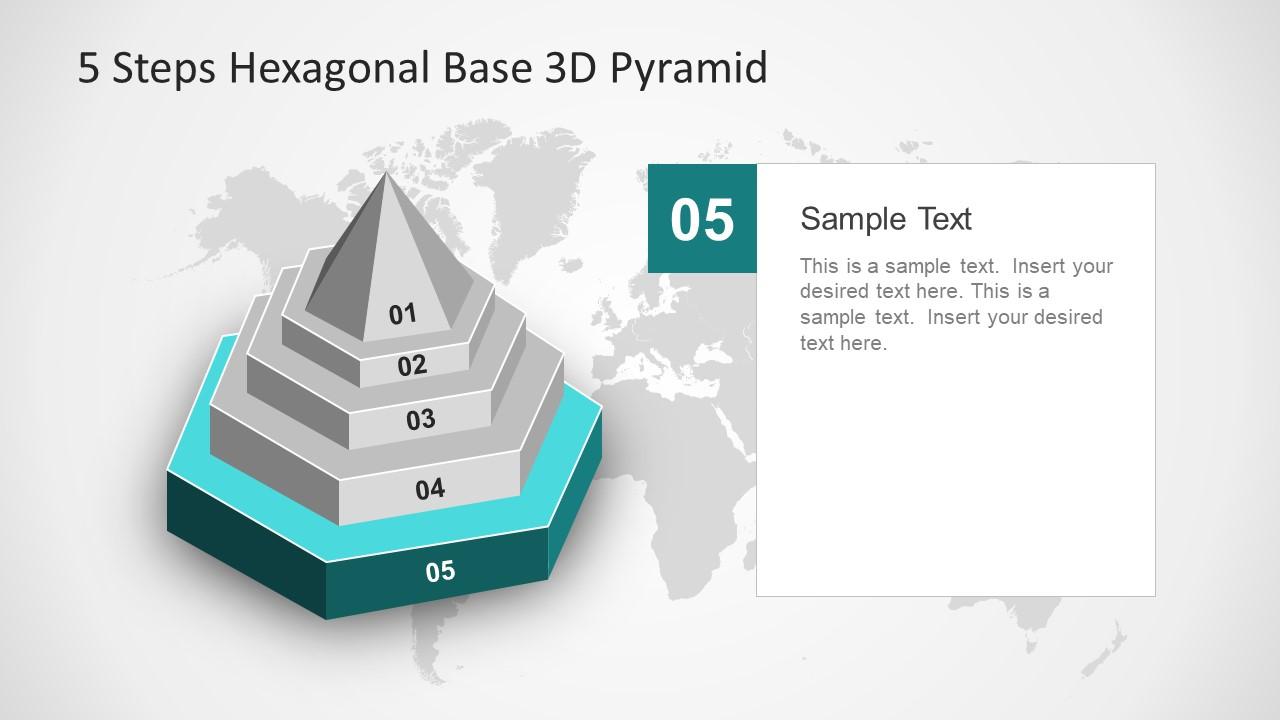Hexagonal Base Slide for 5 Steps Diagram