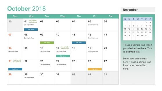 2018 Calendar Template for Management