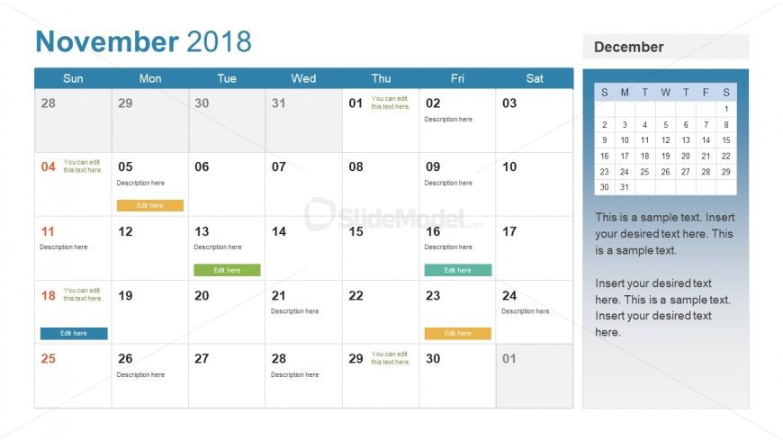 Monthly November 2018 Dates