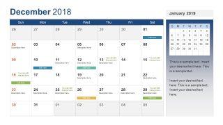 December Calendar for Holidays Reminders