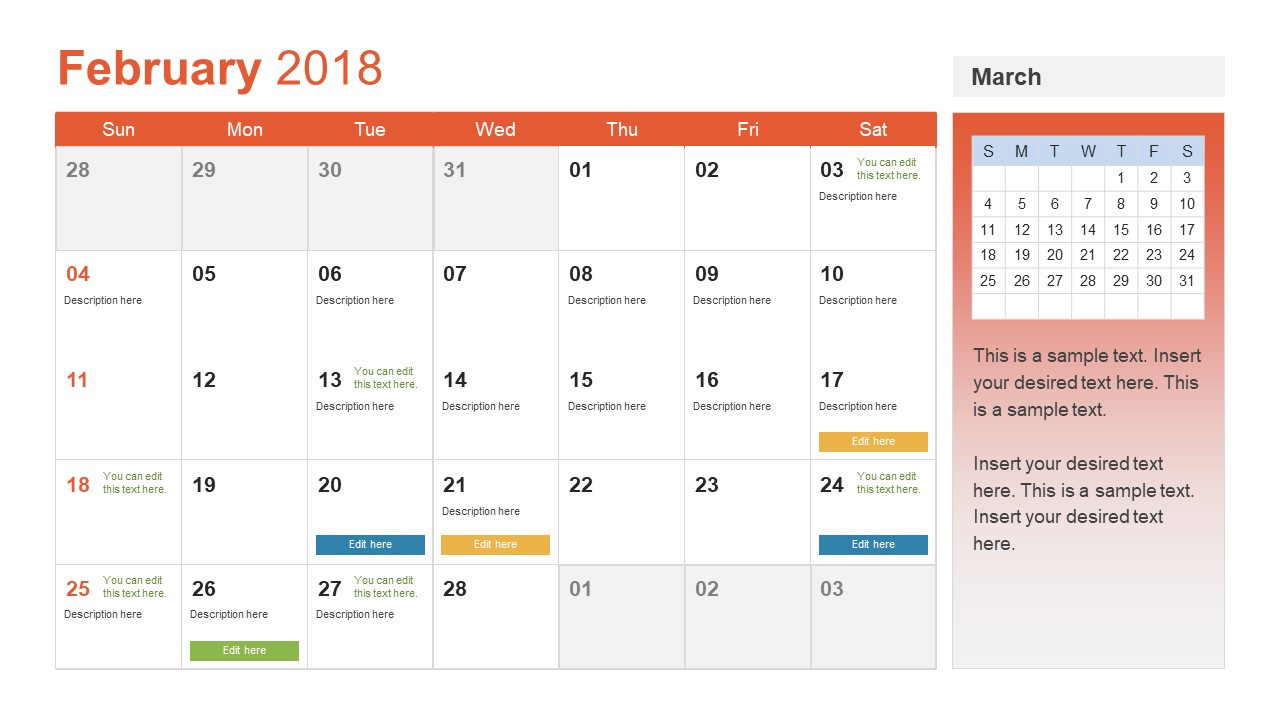 Month Calendar Template For January; February Calendar Slide Of PowerPoint  ...