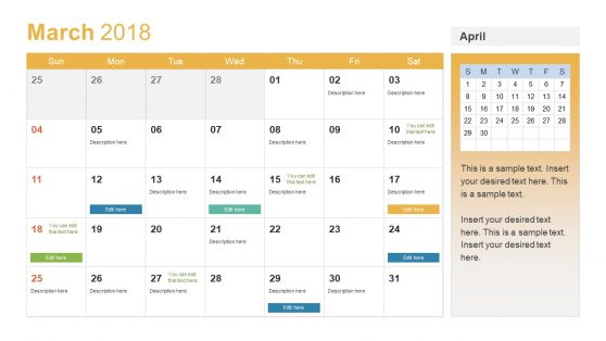 Editable Calendar Slide for New year
