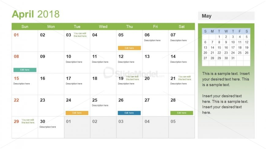 Event planning calendar template slidemodel for Annual event calendar template
