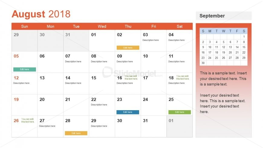 event planning format of calendar presentation slidemodel