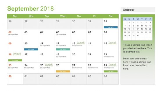 Shareable PowerPoint of Calendar for 2018
