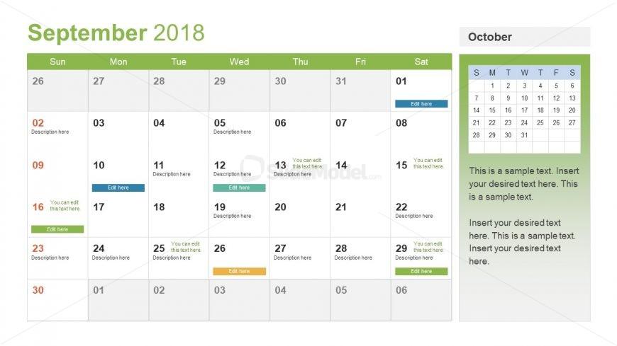 shareable powerpoint of calendar for 2018 slidemodel. Black Bedroom Furniture Sets. Home Design Ideas