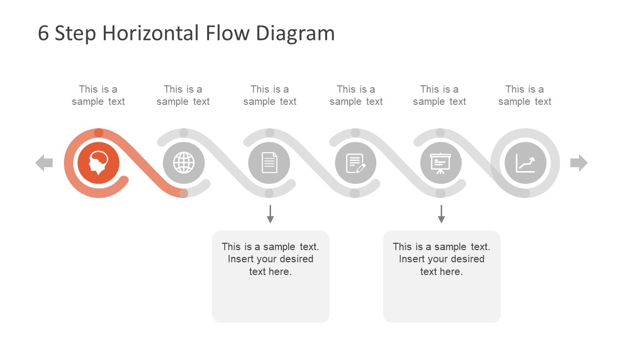 6 Step Horizontal Flow Diagram For Powerpoint