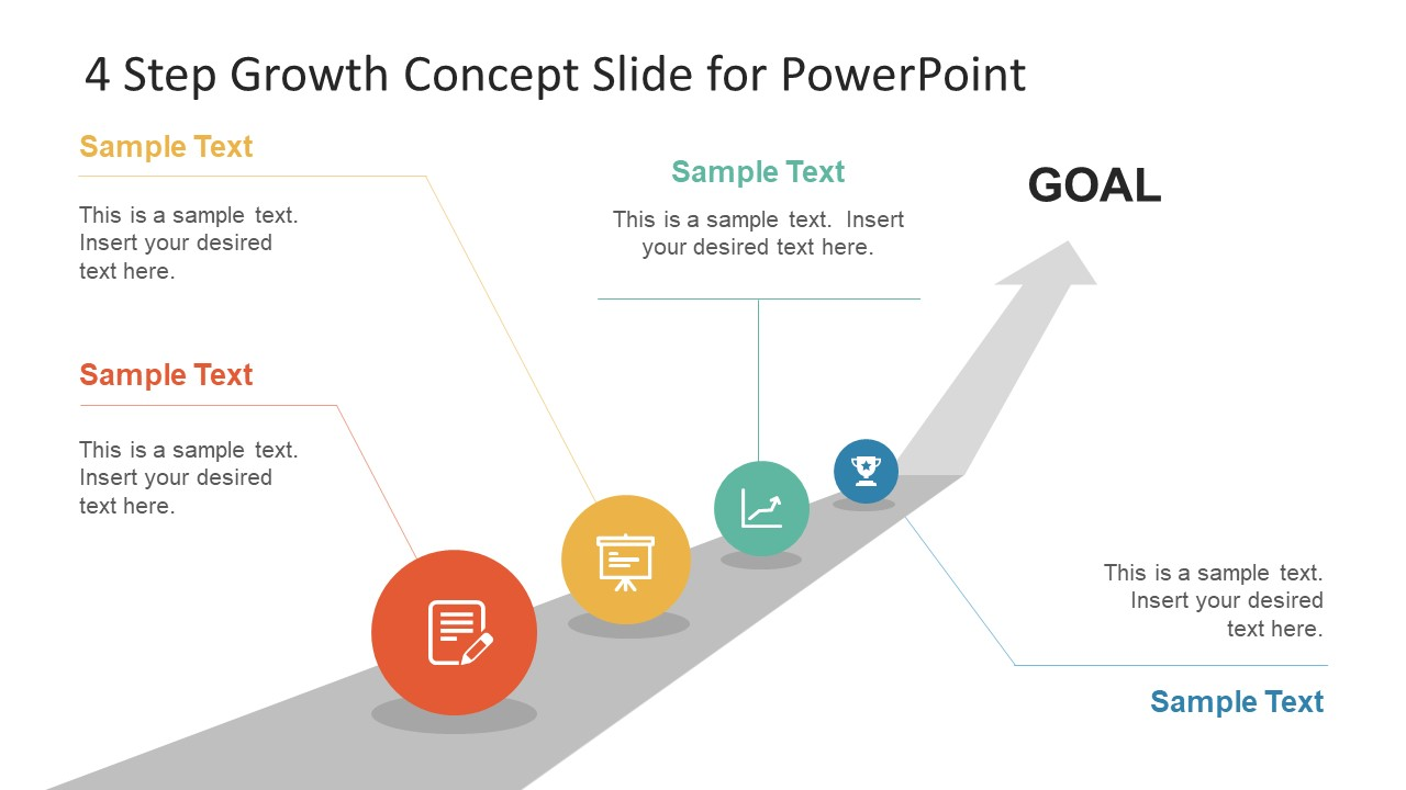 4 steps growth concept slide diagram