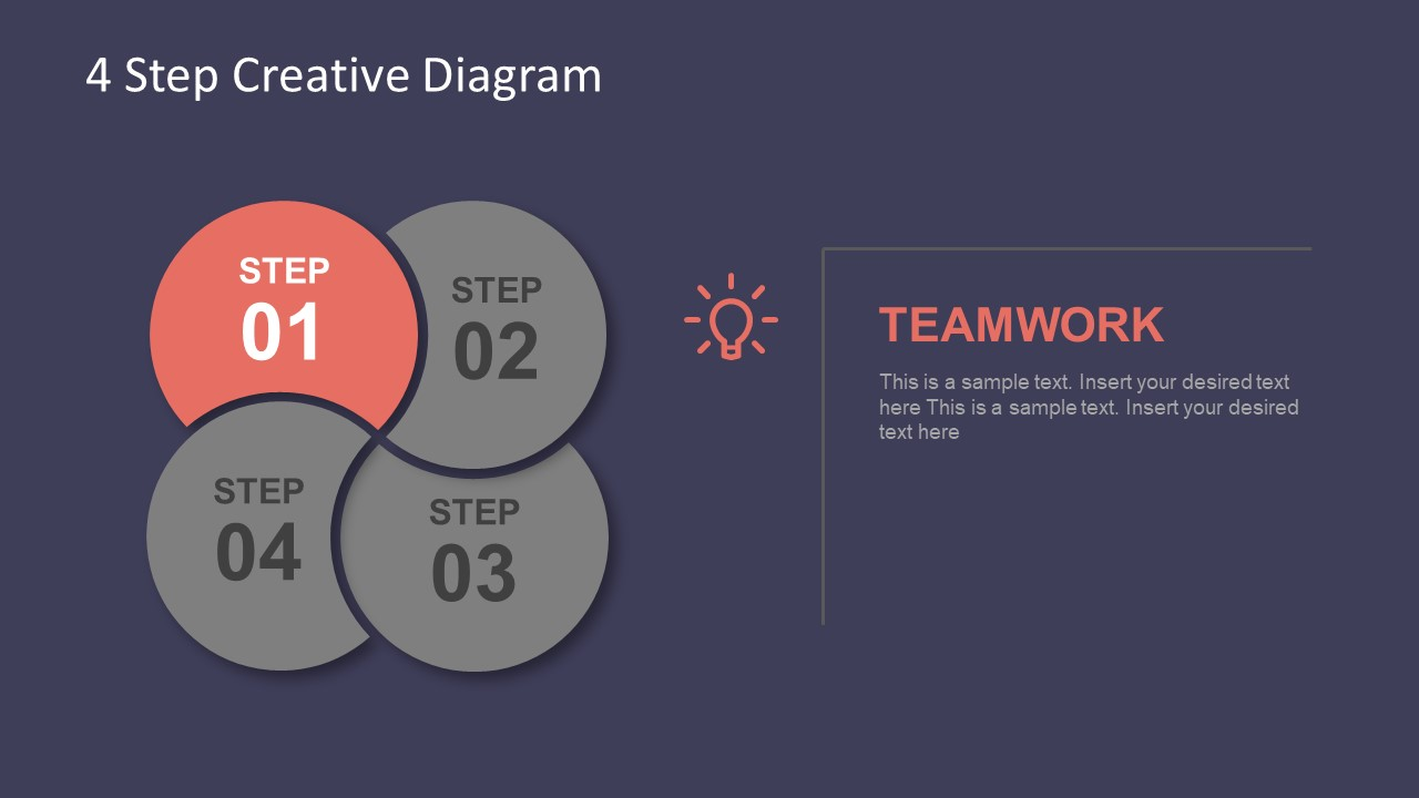 4 Step Creative Diagram Template For Powerpoint Slidemodel Vector Idea Infographic With Light Bulb Of Flat Design Process Flow