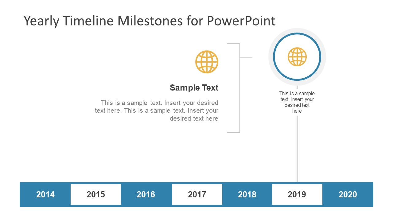 Yearly timeline milestones for powerpoint slidemodel globe infographic icon template milestone ppt milestones of yearly timeline horizontal view toneelgroepblik Images