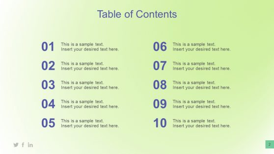 Table of Content Slide PPT
