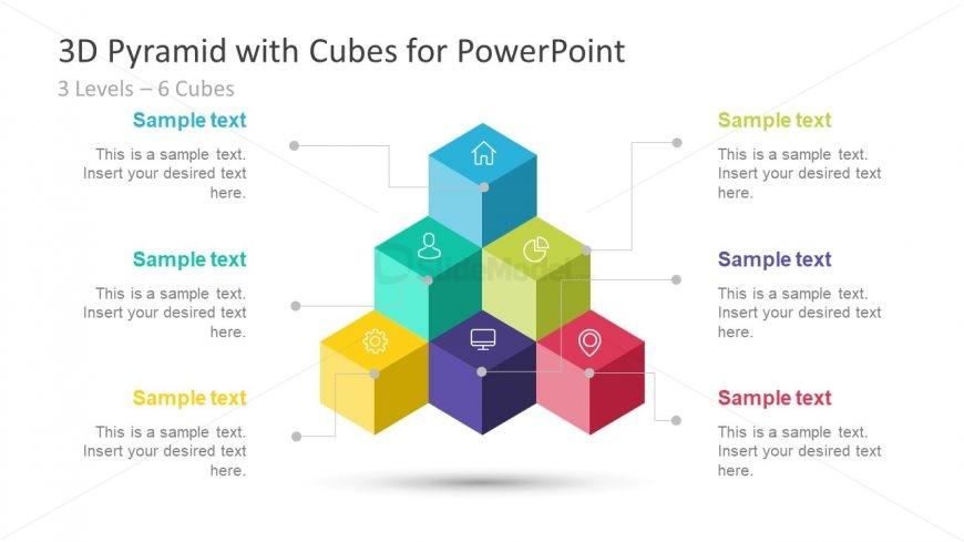 3D Cube Template Diagram 6 Segments