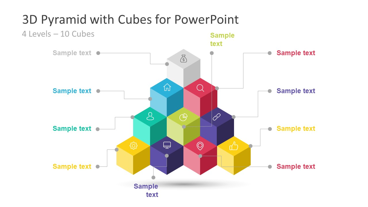 3d Pyramid Powerpoint Template With Cubes Slidemodel