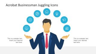 Acrobat Businessman Juggling with Icons for PowerPoint