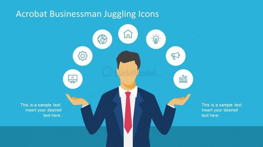 Blue Background Slide of Juggling Businessman