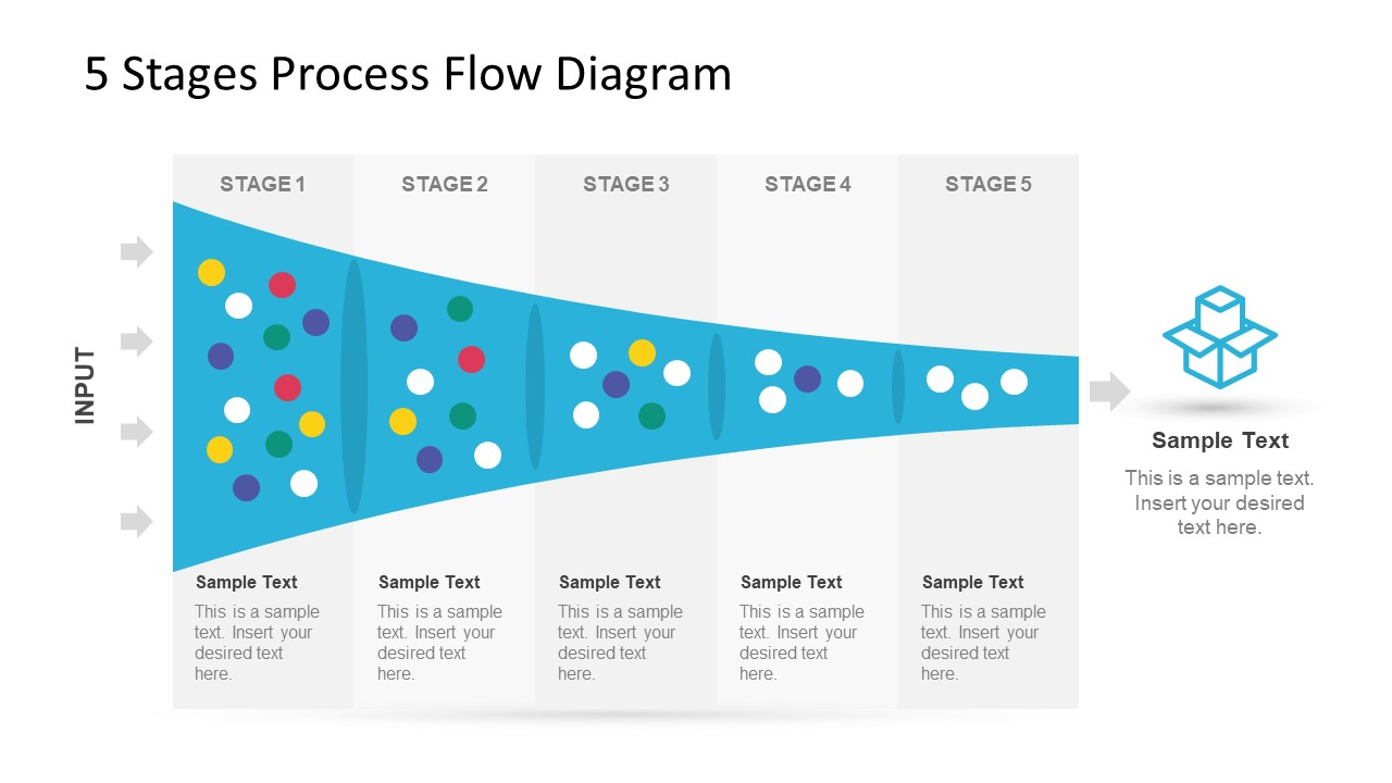 5 Stage Process Flow Diagram For Powerpoint Slidemodel Ppt
