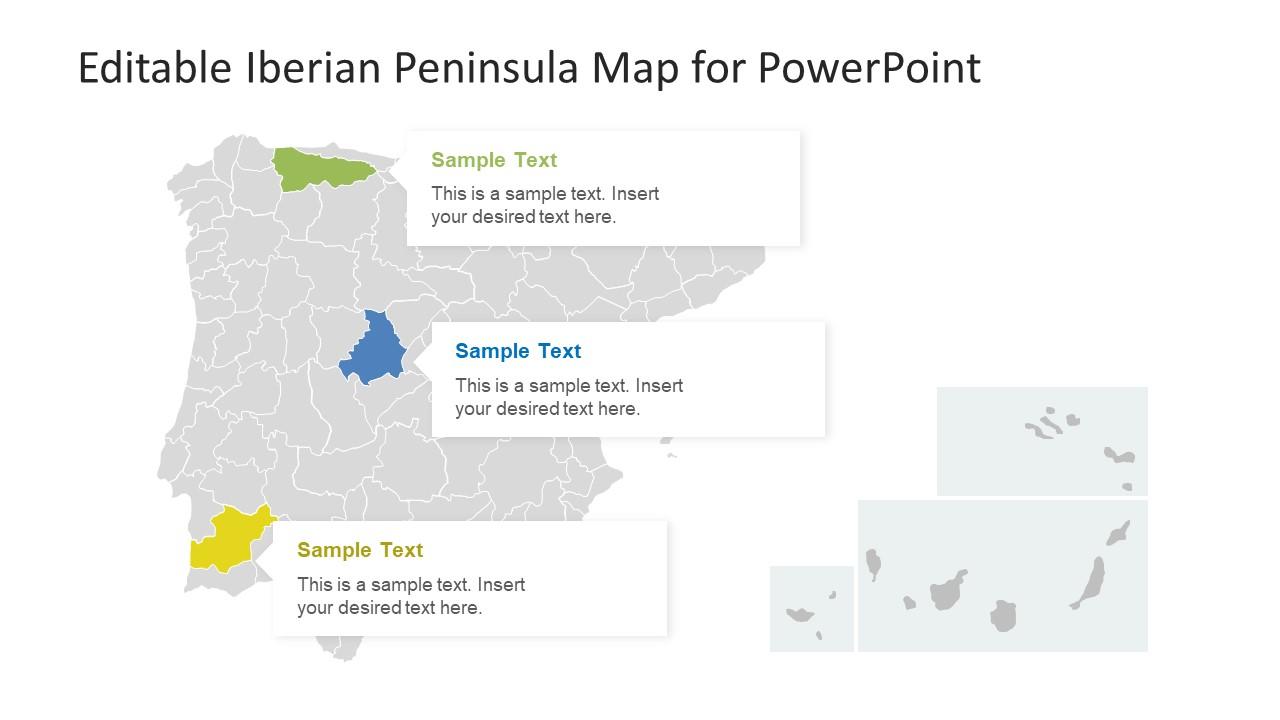 Editable Iberian Peninsula Map for PowerPoint - SlideModel