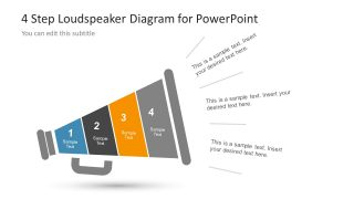 4 Step Loudspeaker Diagram Design for PowerPoint