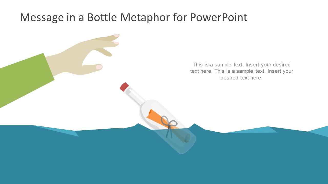 Glass Bottle in Ocean with Message Graphics
