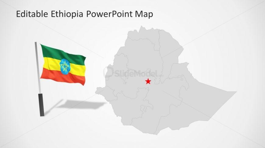 Flag PowerPoint Slide of Ethiopia Map