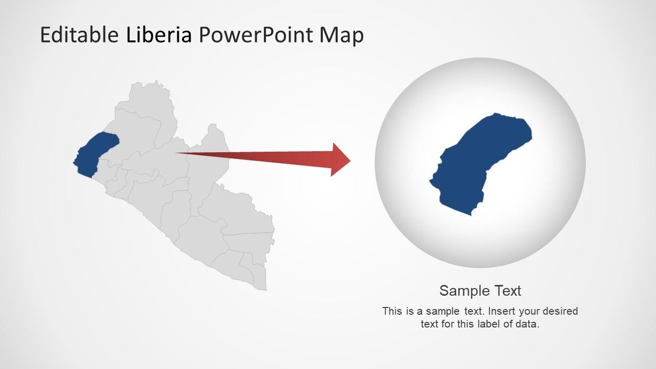 Slide of Liberia Editable Map Template